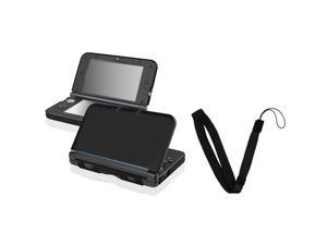 eForCity Black Aluminum Case Cover + Black Wrist Strap compatible with Nintendo 3DS XL / LL