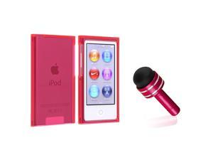 eForCity Clear Hot Pink Slim Snap-on Case Cover + Red 3.5mm Headset Dust Cap with Mini Stylus compatible with Apple® iPod ...