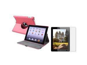 Hot Pink 360-degree Leather Case + Anti-Glare Screen Protector compatible with Apple® iPad 2