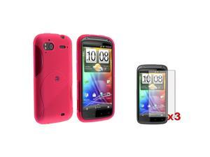eForCity Pink S Curve TPU Gel Phone Case Cover+3 LCD Protector Compatible with HTC Sensation 4G