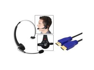 eForCity Wireless Bluetooth Headset + 3Ft Blue HDMI Cable 1.4 Ethernet M/M compatible with Sony PS3
