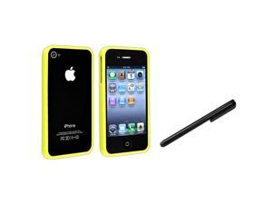 Bumper TPU Rubber Skin Case with Black Touch Screen Stylus compatible with Apple® iPhone 4 4S, Yellow