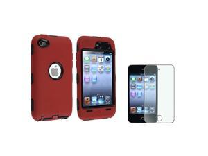 Black Hard & Red Silicone Hybrid Case + Colorful Diamond Screen Protector Compatible with Apple® iPod touch 4th Generation