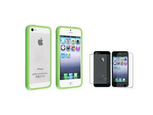 eForCity Green TPU Bumper Frame Case w/ Aluminum Button + Anti-Glare Front & Back Screen Protector for Apple iPhone 5 / 5S