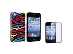 Colorful Zebra Rear Snap On Hard Cover Case w/ Screen Protector Film compatible with Apple® iPod touch 4th Gen