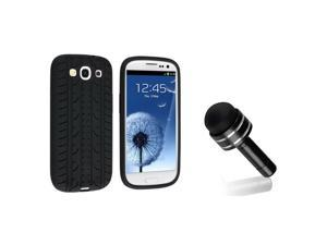 eForCity Black Tire Silicone Case + Black 3.5-mm Headset Dust Cap with Mini Stylus Bundle Compatible With Samsung© Galaxy ...