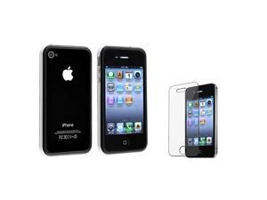 eForCity White / Black Bumper TPU Case With Aluminum Button Compatible With Apple® iPhone 4 / 4S/Bonus Clear LCD Screen Protector ...