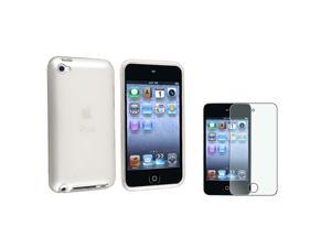 eForCity Clear Frost White TPU Case + Colorful Diamond Screen Protector compatible with Apple® iPod Touch 4
