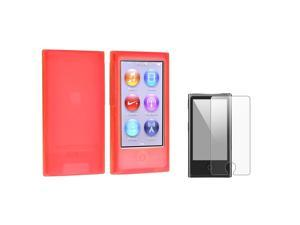 eForCity Red Silicone Case Cover with FREE Anti-Glare LCD Cover compatible with Apple® iPod nano 7/7th/7 th/gen 7/7 gen/7 ...