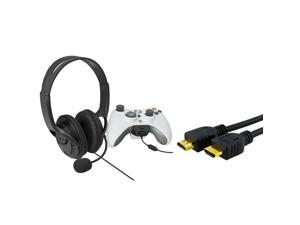 eForCity Black Game Live Headset W/Microphone+3Ft HDMI Cable M/M 1080P For Microsoft xBox 360