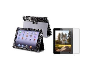 eForCity Black / White Leopard Leather Case + Anti-Glare Screen Protector for Apple® ipad 3rd generation / The new ipad /ipad ...