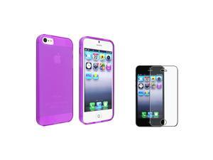 eForCity Frost Clear Purple TPU Case + Anti-Glare Screen Protector compatible with Apple® iPhone 5 / 5S