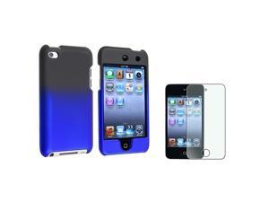 Black to Blue Gradient Rubber Case + Colorful Diamond Screen Protector compatible with Apple® ipod touch 4th Generation
