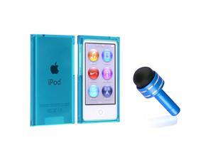 eForCity Clear Blue Slim Snap-on Case Cover + Light Blue 3.5mm Headset Dust Cap with Mini Stylus compatible with Apple® iPod ...