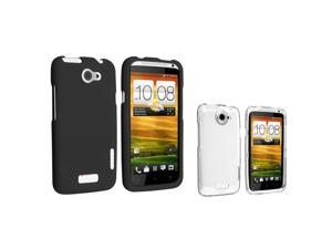 eForCity Black+Clear 2in1 Rubberized Hard Case Cover Accessory Compatible with AT&T HTC One X XL