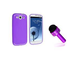 eForCity Purple Jelly TPU Rubber Skin Case + Purple 3.5-mm Headset Dust Cap with Mini Stylus Bundle Compatible With Samsung© ...