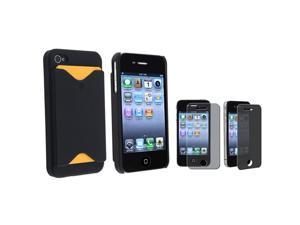 eForCity Black Hard Case With Card Holder + Privacy Screen Filter Compatible With iPhone 4 iPhone 4S At&t/Sprint/Version ...