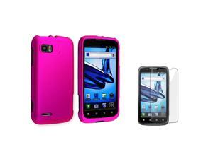 eForCity Hot Pink Snap On Hard Rubber Case With  Reusable Screen Protectorcompatible With Motorola Atrix 2 Mb865