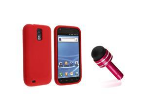 eForCity Red Silicone Skin Case + Red 3.5-mm Headset Dust Cap with Mini Stylus Bundle Compatible With Samsung© Galaxy SII/S2 ...