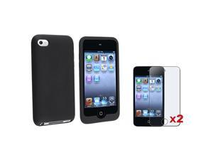 Black Soft Skin Silicone Case Compatible with iPod touch 4th Gen w/ Anti-Glare Screen Shield (2-Pack)