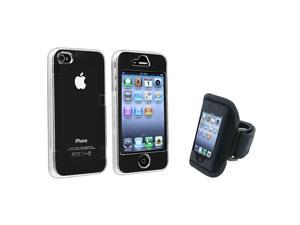 eForCity Crystal Snap-On Case + Black Armband Compatible With Apple® iPhone 4