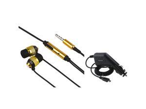Motorola Droid X Combo 3.5mm In-Ear Stereo Headset , Gold / Black + Car Charger (Micro USB) compatible with Motorola Droid ...
