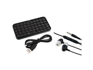 eForCity Black Bluetooth Keyboard + Black Headset Compatible with Samsung© Galaxy Note 2 N7100 S3 S4 i9500