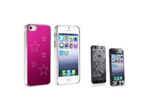 eForCity Hot Pink Aluminum Star Hard plastic Case + 3D Diamond Blink LCD Cover compatible with Apple® iPhone 5