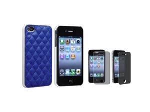 eForCity Blue Leather With Silver Side Snap On Case With Privacy Screen Cover Compatible With Apple® iPhone 4 / 4S