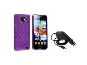 eForCity Black Car Charger (Micro USB) + Purple Circle TPU Rubber Skin Case Bundle Compatible With Samsung© Galaxy SII/S2 ...