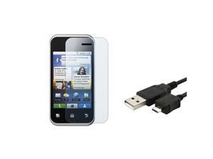 eForCity Clear Screen Protector + USB Data / Charging Cable Compatible With Motorola Mb300 / Backflip
