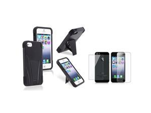 eForCity Hybrid Black Black Frame & stand Silicone / Hard plastic Case + Front & Back Reusable LCD Cover for Apple iPhone ...