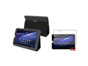 eForCity Black Folio Leather Stand Case Pouch+2x Screen Protector compatible with Toshiba Thrive 10.1