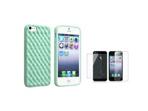 eForCity Mint Green 3D Wave TPU Rubber Skin Case Case + Reusable Front & Back Screen Protector Set compatible with Apple® ...