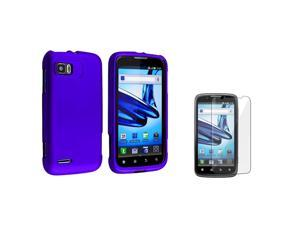 eForCity Blue Snap On Hard Rubber Case With  Reusable Screen Protectorcompatible With Motorola Atrix 2 Mb865