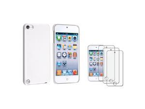 eForCity White Rear Snap-on Case + 3-Pack Anti-Glare Screen Protector Bundle Compatible With Apple® iPod Touch 5th Generation