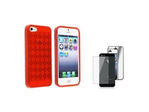 eForCity Red Argyle Candy Skin Case + Mirror Front & Back Screen Protector Set compatible with Apple® iPhone 5