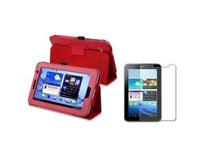 eForCity Red Stand Horizontal Leather Case with Anti-Glare LCD Cover Compatible With Samsung© Galaxy Tab 2 7.0'' P3100