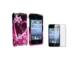 eForCity Purple Heart Snap-on Hard Cover Case+Screen PROTECTOR FOR Apple® iPod Touch 4 4TH G Gen