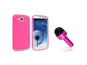 eForCity Hot Pink Jelly TPU Rubber Skin Case + Pink 3.5-mm Headset Dust Cap with Mini Stylus Bundle Compatible With Samsung© ...