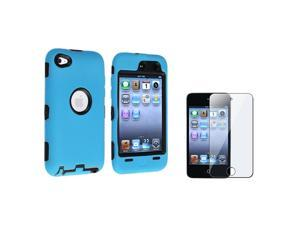 eForCity Black / Sky Blue Hybrid Case Cover + FREE Reusable Screen Protector Compatible with Apple® iPod Touch 4th Generation