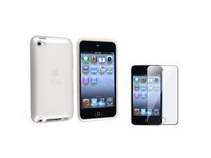 eForCity Clear Frost White TPU Case + Clear Reusable Screen Protector compatible with Apple® iPod Touch 4