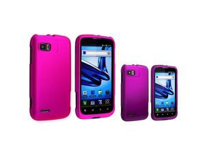 eForCity 2 Packs Of Snap On Hard Rubber Cases - Hot Pink / Purple Compatible With Motorola Atrix 2 Mb865