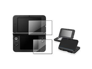 eForCity Black Aluminum Case Cover + Clear 2-LCD Kit Reusable Screen Protector compatible with Nintendo 3DS XL / LL