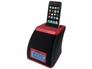 Ihome Ip21Rv Space Saver Alarm Clock compatible with iPhone/iPod ,Red