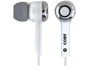 COBY CVE91WHT Isolation Stereo Headset with Volume Control , White