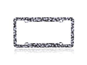 Valor Car Automotive License Plate Frame Black with Skulls Pattern Design Hard Durable Plastic
