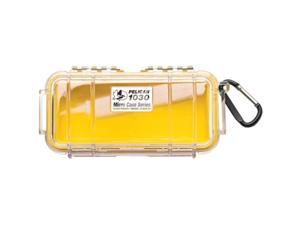 PELICAN 1030-027-100 Yellow 1030 Micro Case with Clear Lid and Carabineer