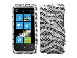 MYBAT Black Zebra Skin Diamante Protector Cover for HTC Arrive