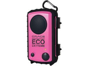 GRACE DIGITAL AUDIO Rugged Waterproof Case with Built-in Speaker, Pink